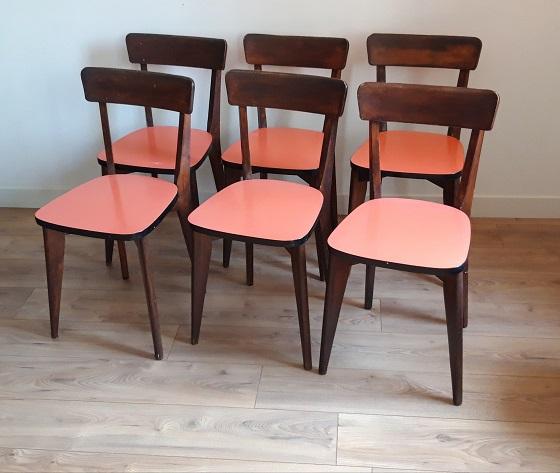 Lot de 6 chaises formica et bois