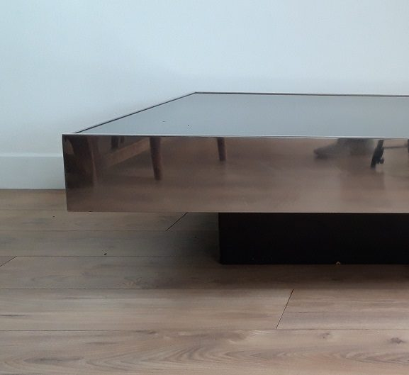 Table basse miroir.           Willy Rizzo 1970